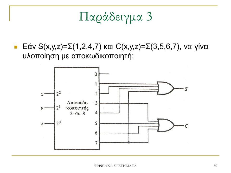 Παράδειγμα 3 ΨΗΦΙΑΚΑ ΣΥΣΤΗΜΑΤΑ 50 Εάν S(x,y,z)=Σ(1,2,4,7) και C(x,y,z)=Σ(3,5,6,7), να γίνει υλοποίηση με αποκωδικοποιητή: