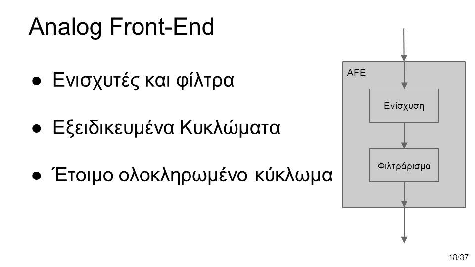 Analog Front-End ●Eνισχυτές και φίλτρα ●Εξειδικευμένα Κυκλώματα ●Έτοιμο ολοκληρωμένο κύκλωμα AFE Ενίσχυση Φιλτράρισμα 18/37