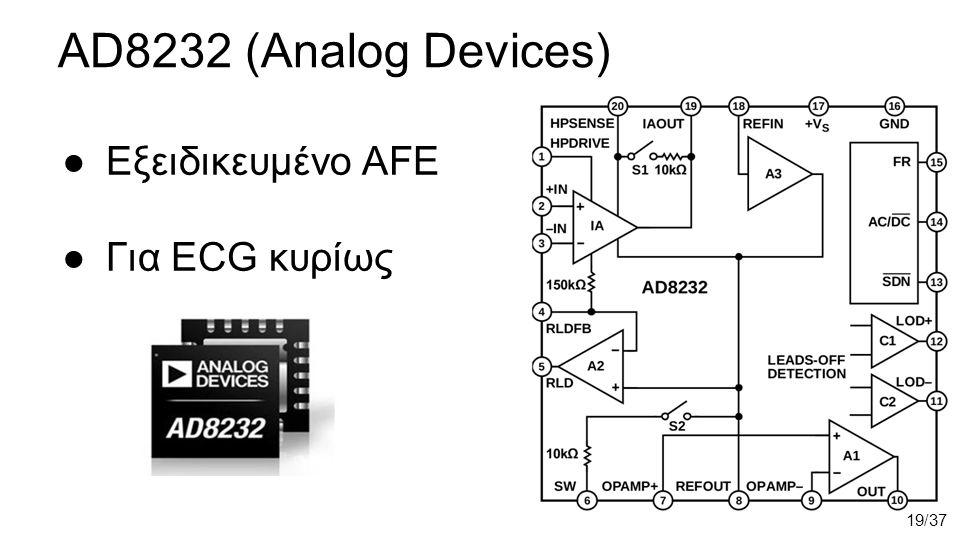 AD8232 (Analog Devices) ●Εξειδικευμένο AFE ●Για ECG κυρίως 19/37