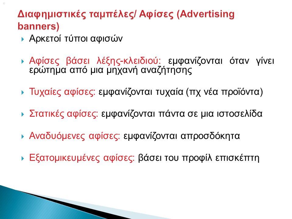   Αρκετοί τύποι αφισών  Αφίσες βάσει λέξης-κλειδιού: εμφανίζονται όταν γίνει ερώτημα από μια μηχανή αναζήτησης  Τυχαίες αφίσες: εμφανίζονται τυχαία (πχ νέα προϊόντα)  Στατικές αφίσες: εμφανίζονται πάντα σε μια ιστοσελίδα  Αναδυόμενες αφίσες: εμφανίζονται απροσδόκητα  Εξατομικευμένες αφίσες: βάσει του προφίλ επισκέπτη