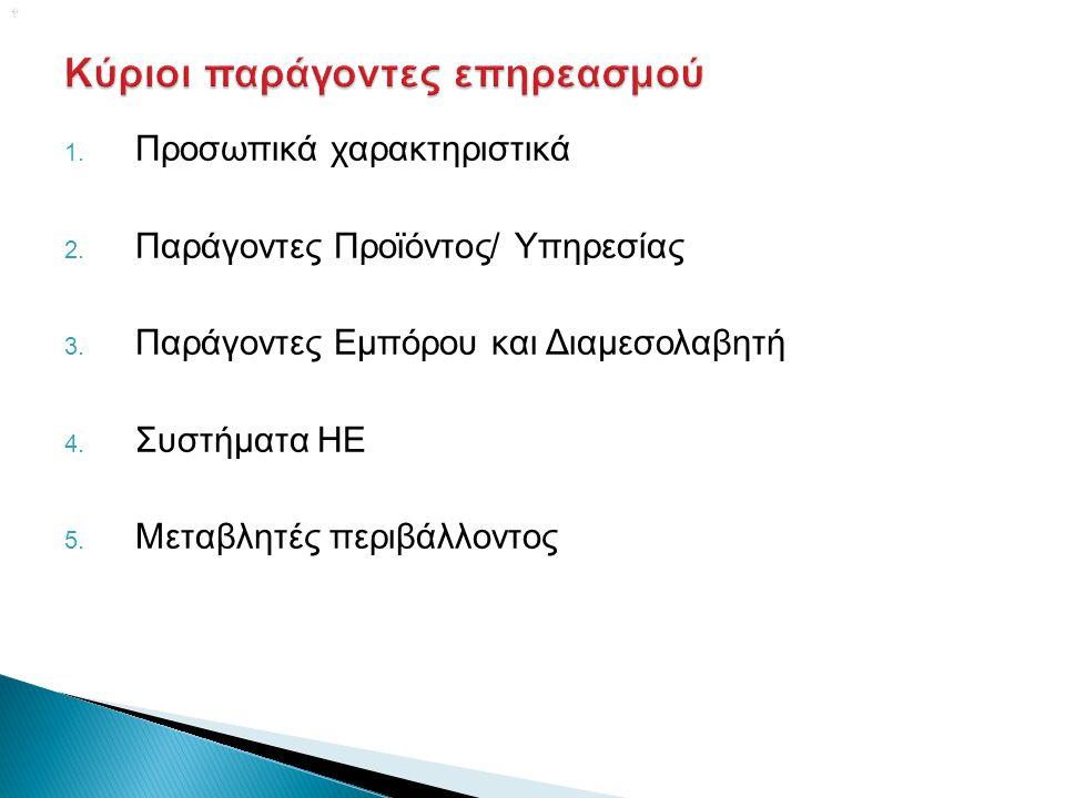  1. Προσωπικά χαρακτηριστικά 2. Παράγοντες Προϊόντος/ Υπηρεσίας 3.