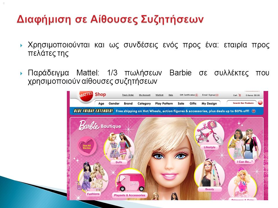   Χρησιμοποιούνται και ως συνδέσεις ενός προς ένα: εταιρία προς πελάτες της  Παράδειγμα Mattel: 1/3 πωλήσεων Barbie σε συλλέκτες που χρησιμοποιούν αίθουσες συζητήσεων