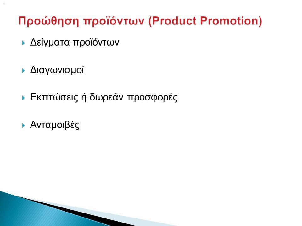   Δείγματα προϊόντων  Διαγωνισμοί  Εκπτώσεις ή δωρεάν προσφορές  Ανταμοιβές