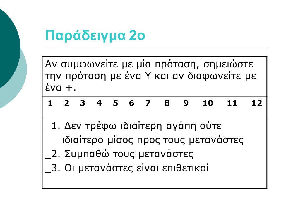 Παράδειγμα 2ο Αν συμφωνείτε με μία πρόταση, σημειώστε την πρόταση με ένα Υ και αν διαφωνείτε με ένα +.