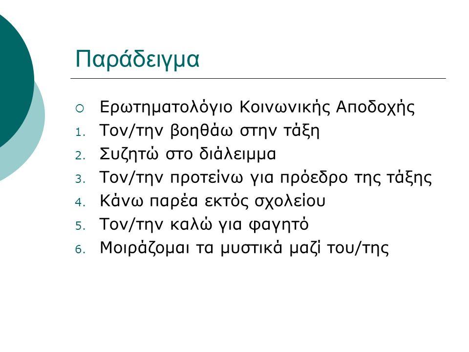 Παράδειγμα  Ερωτηματολόγιο Κοινωνικής Αποδοχής 1.
