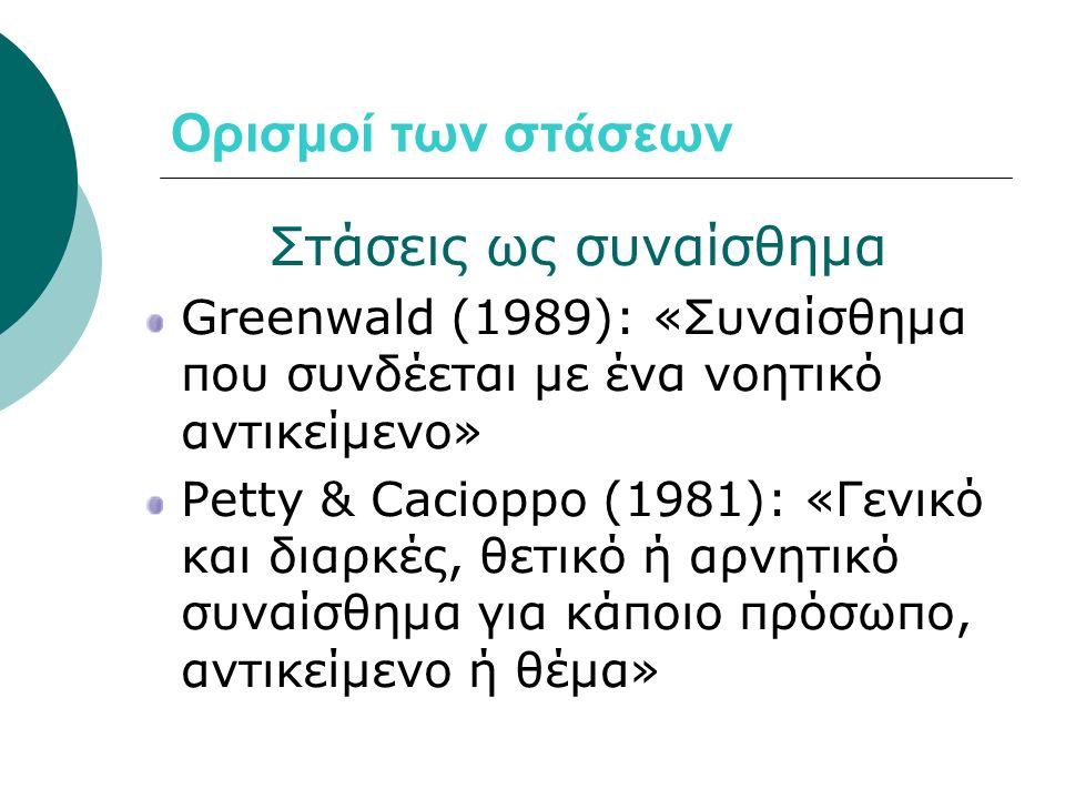 Ορισμοί των στάσεων Στάσεις ως συναίσθημα Greenwald (1989): «Συναίσθημα που συνδέεται με ένα νοητικό αντικείμενο» Petty & Cacioppo (1981): «Γενικό και διαρκές, θετικό ή αρνητικό συναίσθημα για κάποιο πρόσωπο, αντικείμενο ή θέμα»