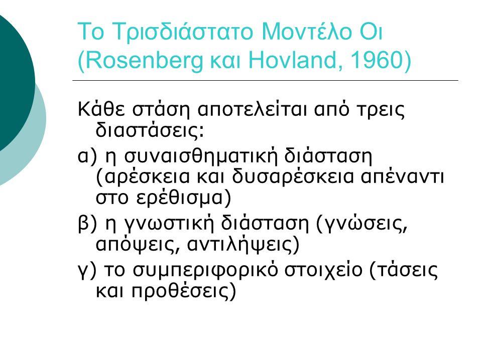 Το Τρισδιάστατο Μοντέλο Οι (Rosenberg και Hovland, 1960) Κάθε στάση αποτελείται από τρεις διαστάσεις: α) η συναισθηματική διάσταση (αρέσκεια και δυσαρέσκεια απέναντι στο ερέθισμα) β) η γνωστική διάσταση (γνώσεις, απόψεις, αντιλήψεις) γ) το συμπεριφορικό στοιχείο (τάσεις και προθέσεις)
