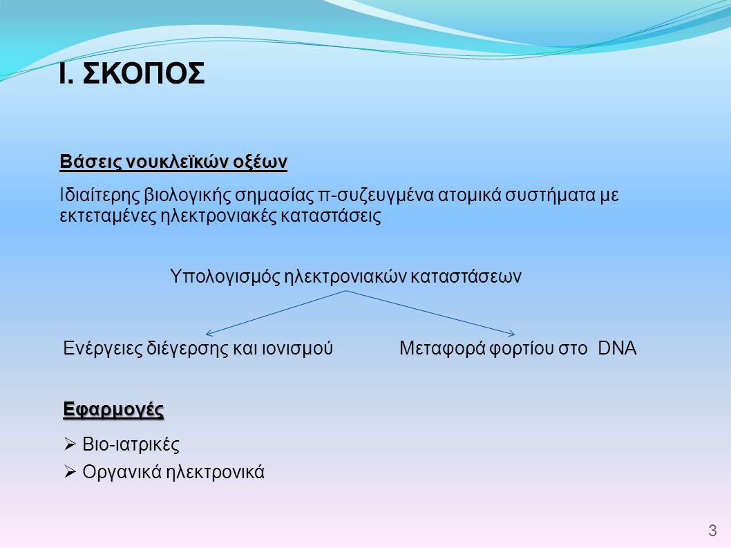I. ΣΚΟΠΟΣ Βάσεις νουκλεϊκών οξέων Ιδιαίτερης βιολογικής σημασίας π-συζευγμένα ατομικά συστήματα με εκτεταμένες ηλεκτρονιακές καταστάσεις  Βιο-ιατρικέ