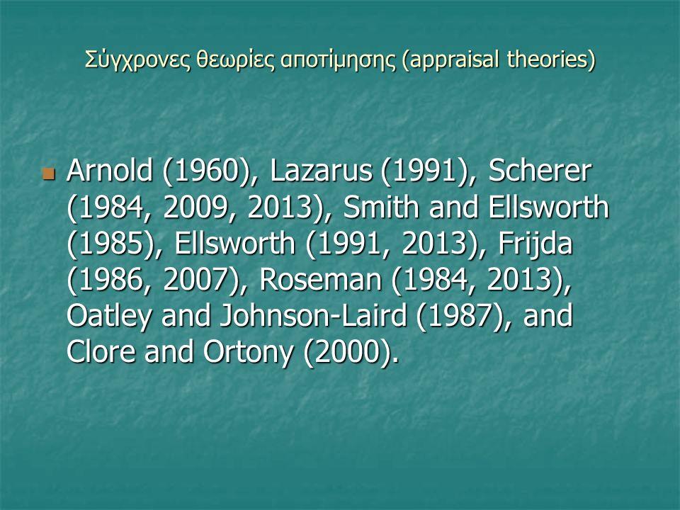 Σύγχρονες θεωρίες αποτίμησης (appraisal theories) Δεν αποτελούν όλες οι θεωρίες που αναγνωρίζουν την ύπαρξη ενός στοιχείου αποτίμησης, π.χ. Ekman, Rus