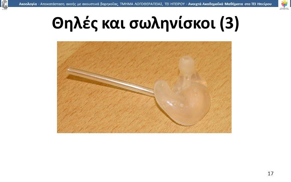 1717 Ακοολογία - Αποκατάσταση ακοής με ακουστικά βαρηκοΐας, ΤΜΗΜΑ ΛΟΓΟΘΕΡΑΠΕΙΑΣ, ΤΕΙ ΗΠΕΙΡΟΥ - Ανοιχτά Ακαδημαϊκά Μαθήματα στο ΤΕΙ Ηπείρου 17 Θηλές και σωληνίσκοι (3)