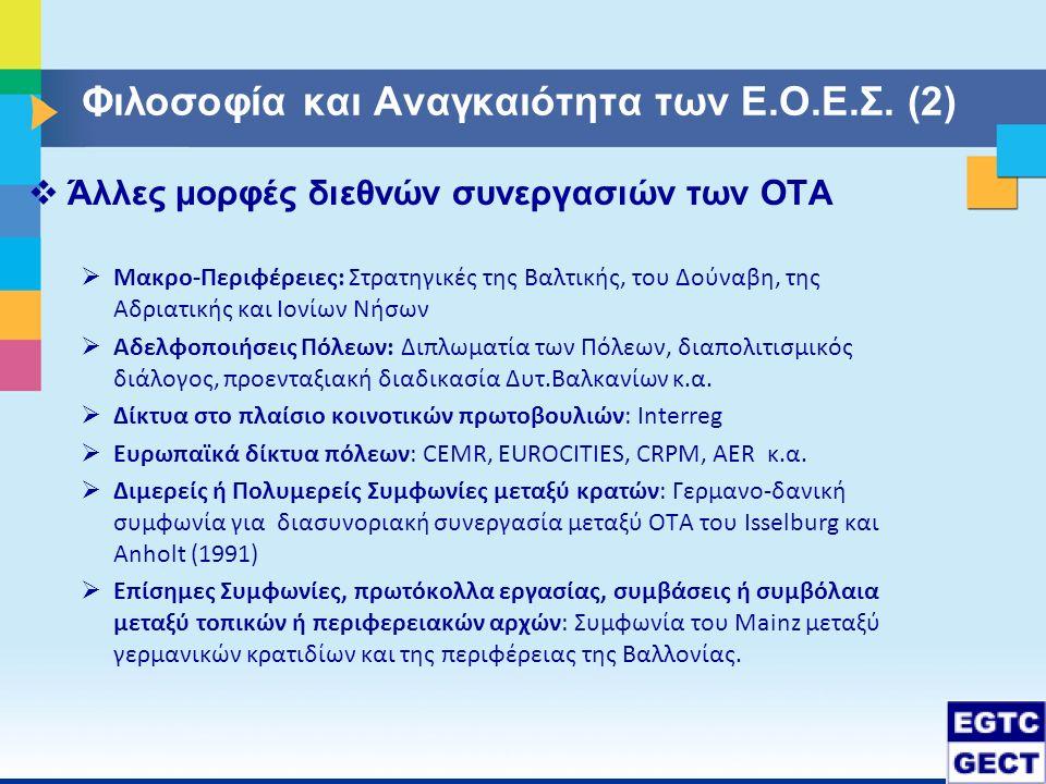 Φιλοσοφία και Αναγκαιότητα των Ε.Ο.Ε.Σ. (2)  Άλλες μορφές διεθνών συνεργασιών των ΟΤΑ  Μακρο-Περιφέρειες: Στρατηγικές της Βαλτικής, του Δούναβη, της