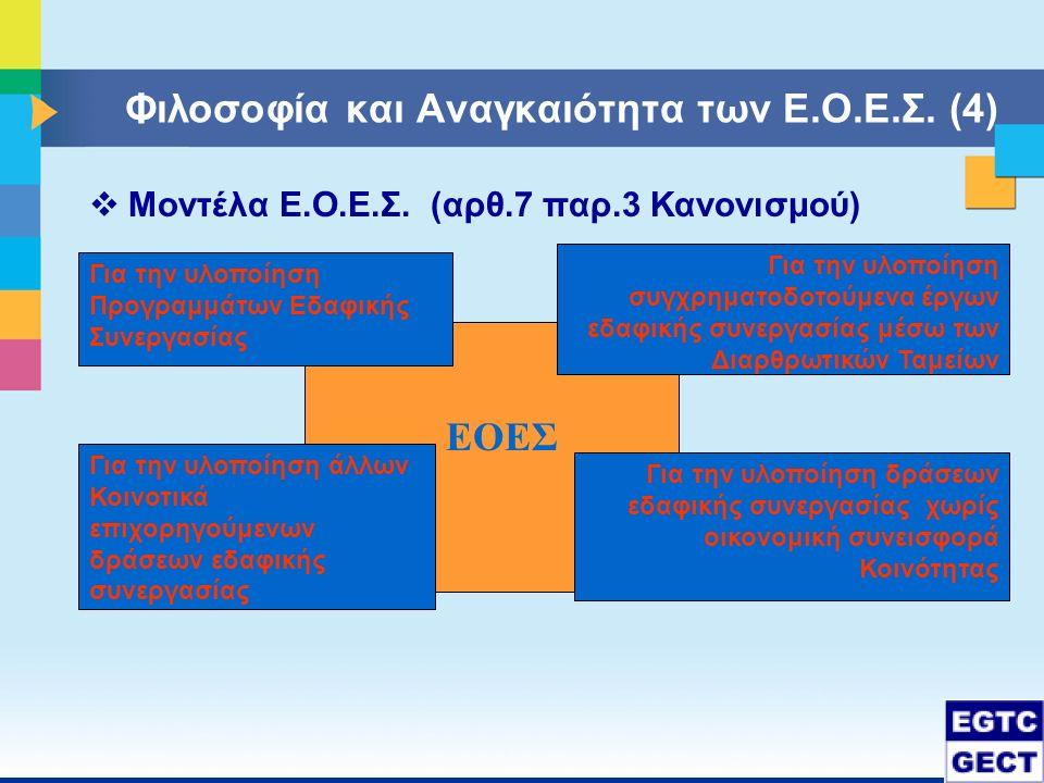  Μοντέλα Ε.Ο.Ε.Σ. (αρθ.7 παρ.3 Κανονισμού) ΕΟΕΣ Για την υλοποίηση Προγραμμάτων Εδαφικής Συνεργασίας Για την υλοποίηση άλλων Κοινοτικά επιχορηγούμενων