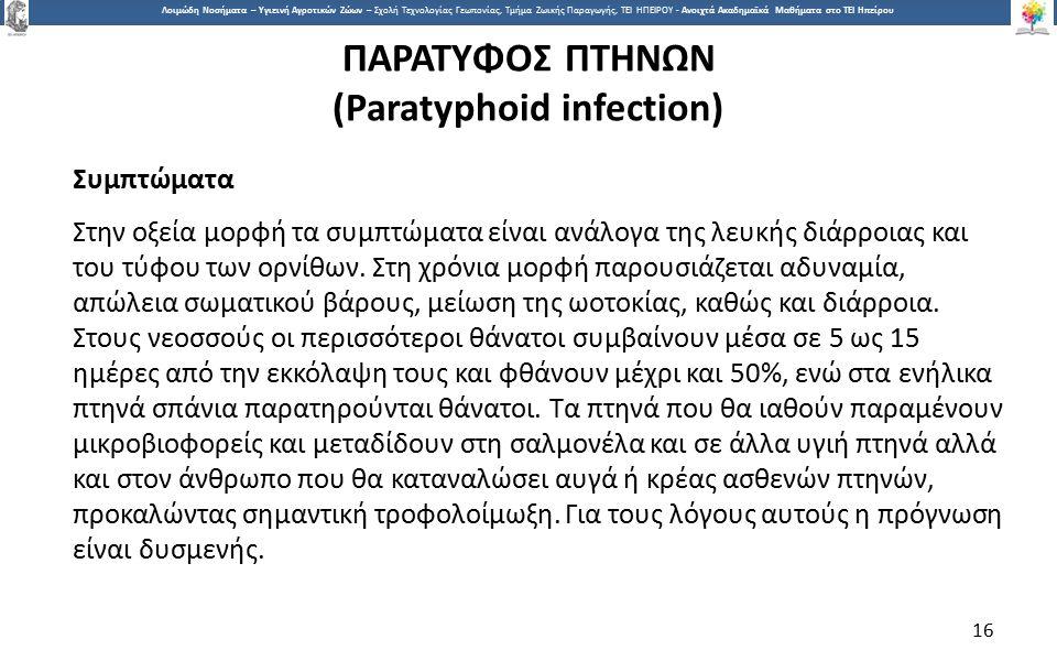 1616 Λοιμώδη Νοσήματα – Υγιεινή Αγροτικών Ζώων – Σχολή Τεχνολογίας Γεωπονίας, Τμήμα Ζωικής Παραγωγής, ΤΕΙ ΗΠΕΙΡΟΥ - Ανοιχτά Ακαδημαϊκά Μαθήματα στο ΤΕΙ Ηπείρου ΠΑΡΑΤΥΦΟΣ ΠΤΗΝΩΝ (Paratyphoid infection) Συμπτώματα Στην οξεία μορφή τα συμπτώματα είναι ανάλογα της λευκής διάρροιας και του τύφου των ορνίθων.