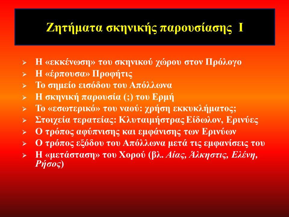 Ζητήματα δραματικής σύνθεσης ΙΙ Τα επανερχόμενα μοτίβα της θήρας, του αίματος, της εκδίκησης, του φιδιού, του διχτυού, της παγίδας  Ολοκλήρωση του ημερήσιου (και του δραματικού) κύκλου στην έξοδο (πρβλ.