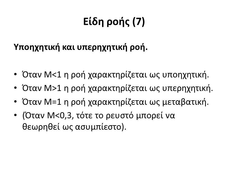 Είδη ροής (7) Υποηχητική και υπερηχητική ροή. Όταν Μ<1 η ροή χαρακτηρίζεται ως υποηχητική.