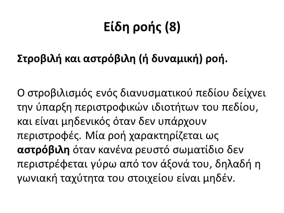 Είδη ροής (8) Στροβιλή και αστρόβιλη (ή δυναμική) ροή.