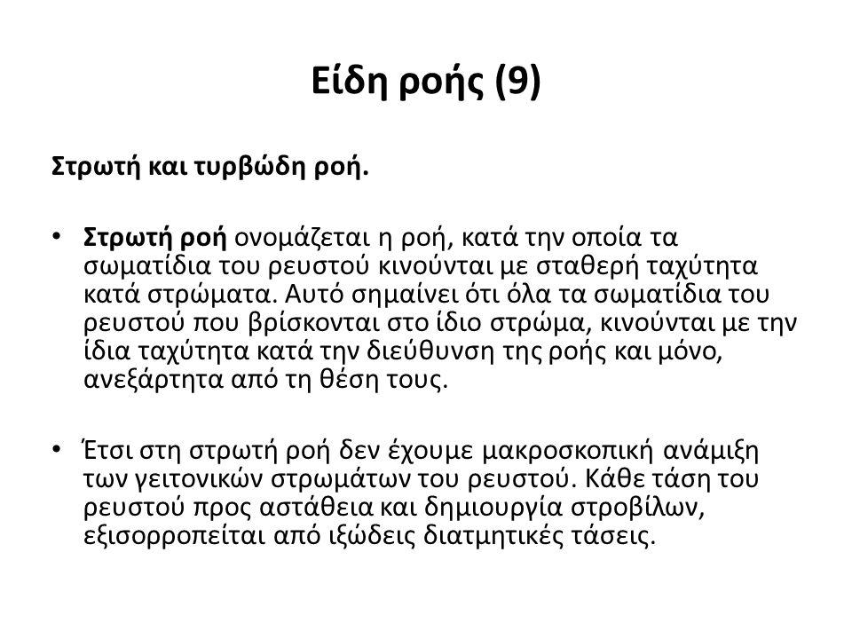 Είδη ροής (9) Στρωτή και τυρβώδη ροή.