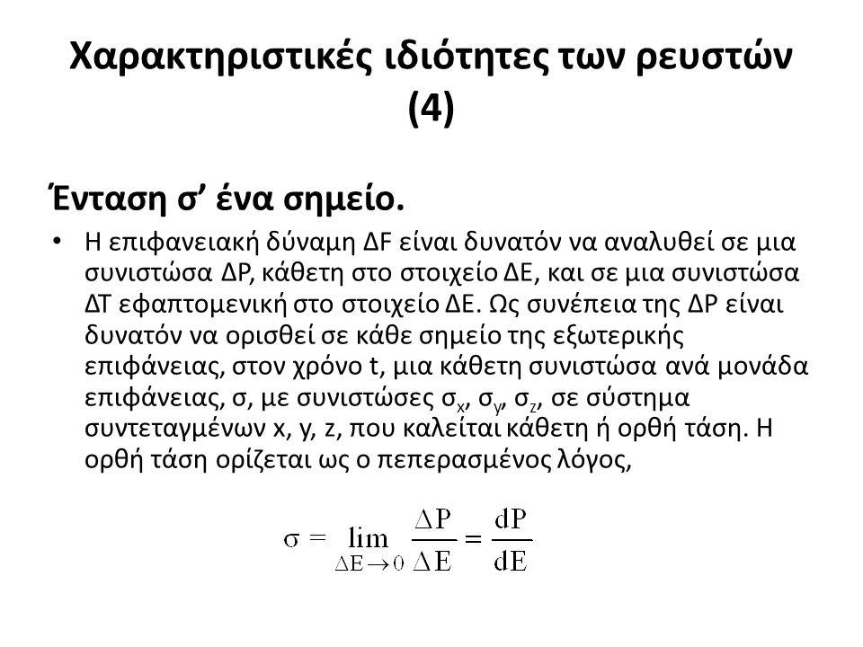 Χαρακτηριστικές ιδιότητες των ρευστών (4) Ένταση σ' ένα σημείο.