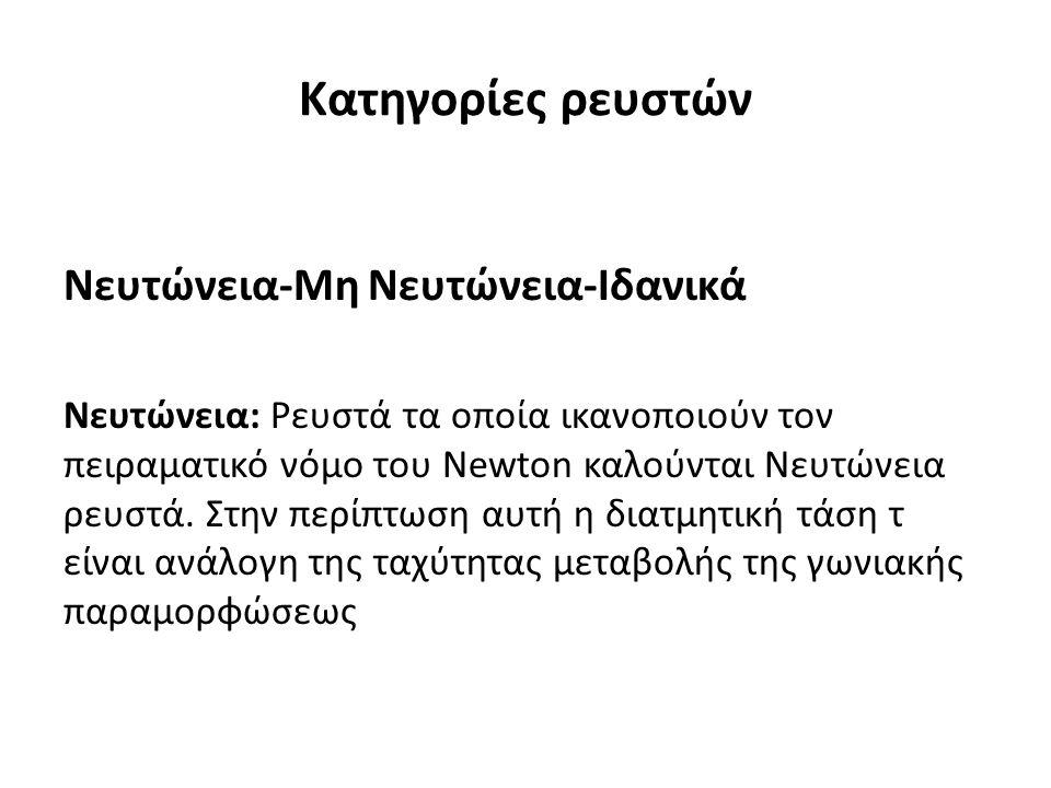 Κατηγορίες ρευστών Νευτώνεια-Μη Νευτώνεια-Ιδανικά Νευτώνεια: Ρευστά τα οποία ικανοποιούν τον πειραματικό νόμο του Newton καλούνται Νευτώνεια ρευστά.