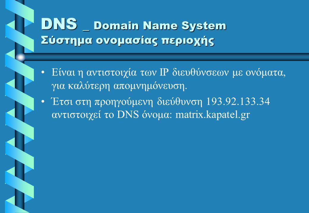 IP διεύθυνση Η μοναδική διεύθυνση για κάθε υπολογιστή του INTERNET Αποτελείται από 4 φυσικούς αριθμούς από το 0 μέχρι το 255 ο καθένας –193.92.133.34 –Π.χ: 193.92.133.34 που αντιστοιχεί σε ένα ορισμένο Η/Υ (στην προκειμένη περίπτωση στον host Η/Υ της εταιρίας MATRIX-KAPATEL)