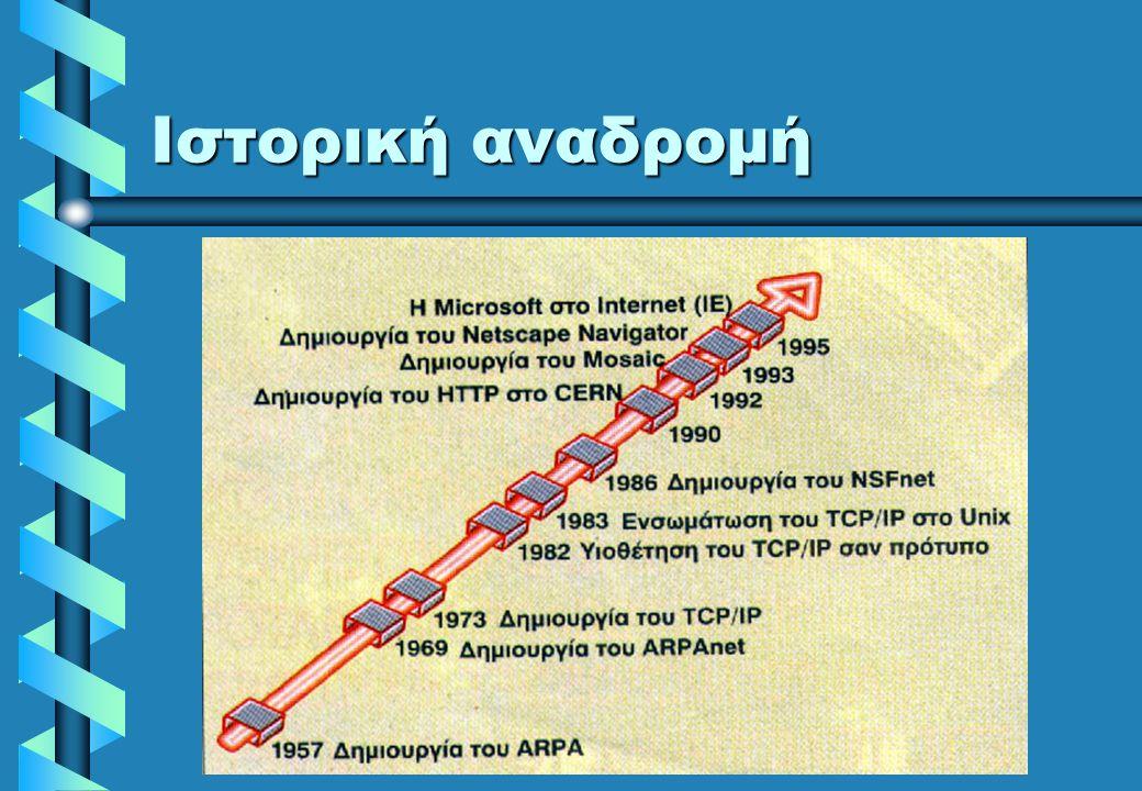 Ιστορική αναδρομή  ARPAnet  Δεκαετία 1970: δημιουργία του ARPAnet στις ΗΠΑ (Advanced Research Projects Agency network) Στόχος η διασύνδεση ετερογενώ