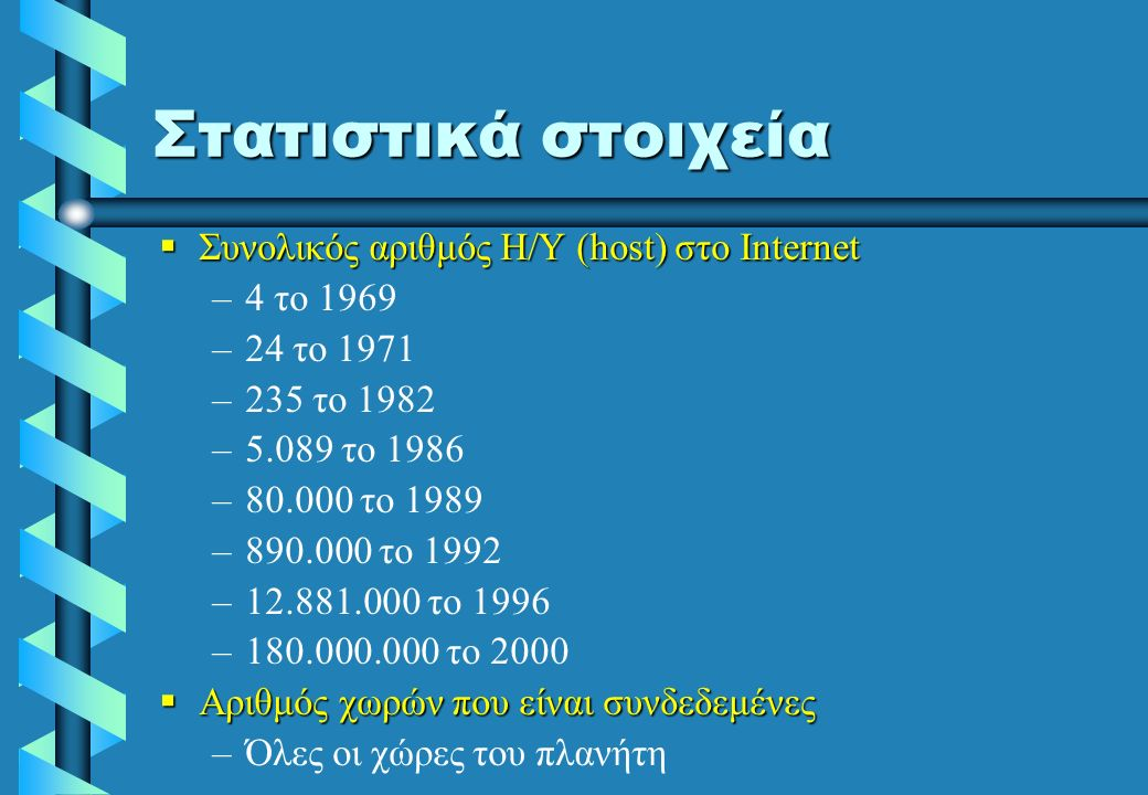 Στατιστικά στοιχεία  Συνολικός αριθμός Η/Υ (host) στο Internet – –4 το 1969 – –24 το 1971 – –235 το 1982 – –5.089 το 1986 – –80.000 το 1989 – –890.000 το 1992 – –12.881.000 το 1996 – –180.000.000 το 2000  Αριθμός χωρών που είναι συνδεδεμένες – –Όλες οι χώρες του πλανήτη