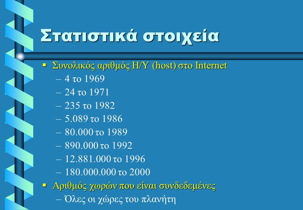 TCP/IP _ Transmission Control Protocol / Internet Protocol Είναι το σύνολο των κανόνων επικοινωνίας (πρωτόκολλο) με βάση τους οποίους επικοινωνούν οι υπολογιστές στο INTERNET