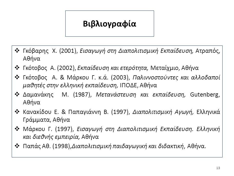 Βιβλιογραφία  Γκόβαρης Χ.