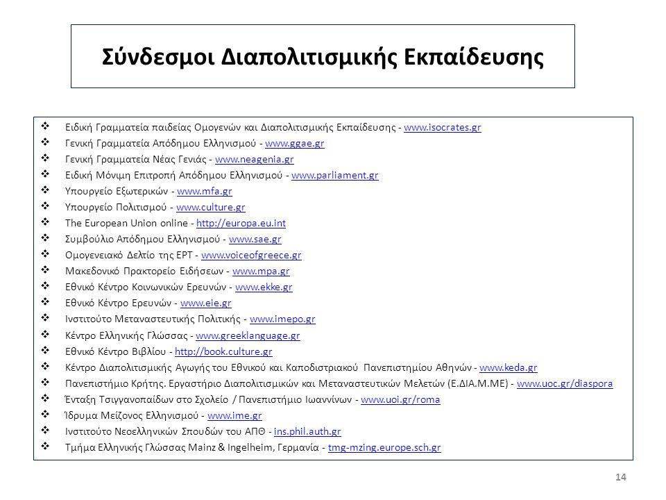 Σύνδεσμοι Διαπολιτισμικής Εκπαίδευσης  Ειδική Γραμματεία παιδείας Ομογενών και Διαπολιτισμικής Εκπαίδευσης - www.isocrates.grwww.isocrates.gr  Γενική Γραμματεία Απόδημου Ελληνισμού - www.ggae.grwww.ggae.gr  Γενική Γραμματεία Νέας Γενιάς - www.neagenia.grwww.neagenia.gr  Ειδική Μόνιμη Επιτροπή Απόδημου Ελληνισμού - www.parliament.grwww.parliament.gr  Υπουργείο Εξωτερικών - www.mfa.grwww.mfa.gr  Υπουργείο Πολιτισμού - www.culture.grwww.culture.gr  The European Union online - http://europa.eu.inthttp://europa.eu.int  Συμβούλιο Απόδημου Ελληνισμού - www.sae.gr www.sae.gr  Ομογενειακό Δελτίο της ΕΡΤ - www.voiceofgreece.grwww.voiceofgreece.gr  Μακεδονικό Πρακτορείο Ειδήσεων - www.mpa.grwww.mpa.gr  Εθνικό Κέντρο Κοινωνικών Ερευνών - www.ekke.grwww.ekke.gr  Εθνικό Κέντρο Ερευνών - www.eie.grwww.eie.gr  Ινστιτούτο Μεταναστευτικής Πολιτικής - www.imepo.grwww.imepo.gr  Κέντρο Ελληνικής Γλώσσας - www.greeklanguage.grwww.greeklanguage.gr  Εθνικό Κέντρο Βιβλίου - http://book.culture.gr http://book.culture.gr  Κέντρο Διαπολιτισμικής Αγωγής του Εθνικού και Καποδιστριακού Πανεπιστημίου Αθηνών - www.keda.grwww.keda.gr  Πανεπιστήμιο Κρήτης.