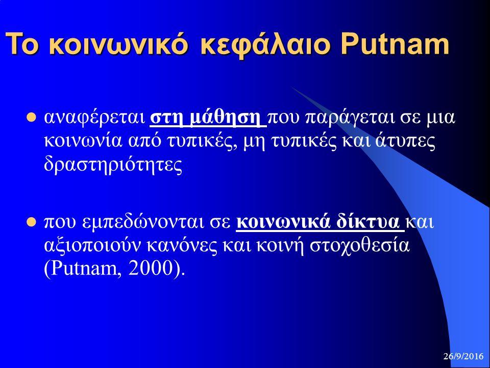 To κοινωνικό κεφάλαιο Putnam αναφέρεται στη μάθηση που παράγεται σε μια κοινωνία από τυπικές, μη τυπικές και άτυπες δραστηριότητες που εμπεδώνονται σε κοινωνικά δίκτυα και αξιοποιούν κανόνες και κοινή στοχοθεσία (Putnam, 2000).