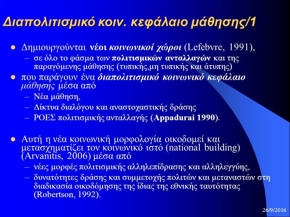 Διαπολιτισμικό κοιν. κεφάλαιο μάθησης/1 Δημιουργούνται νέοι κοινωνικοί χώροι (Lefebvre, 1991), –σε όλο το φάσμα των πολιτισμικών ανταλλαγών και της πα