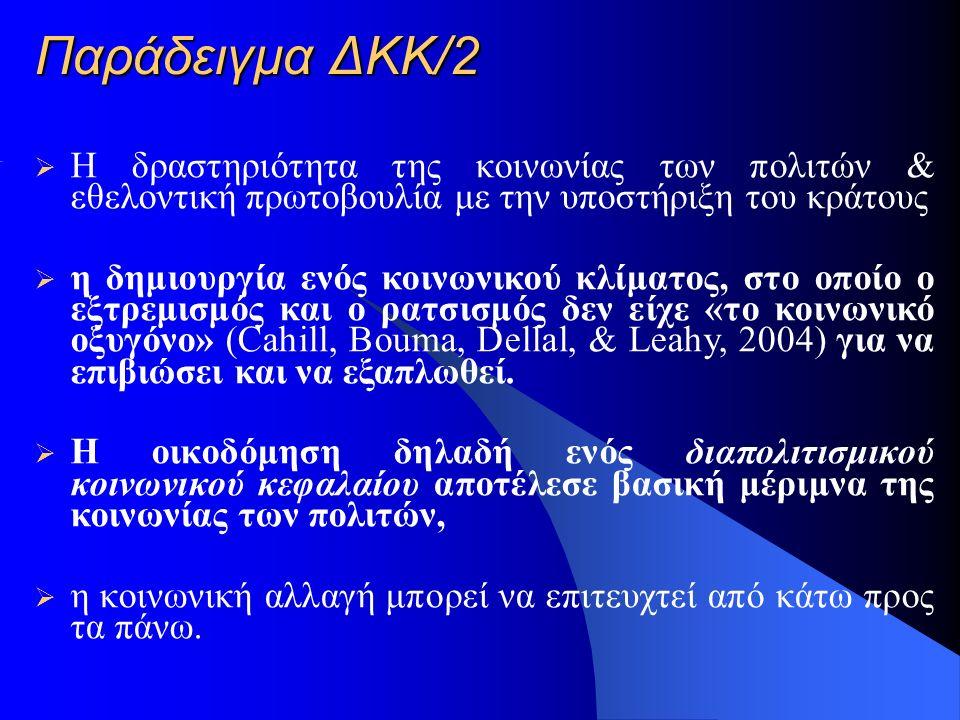 Παράδειγμα ΔΚΚ/2  Η δραστηριότητα της κοινωνίας των πολιτών & εθελοντική πρωτοβουλία με την υποστήριξη του κράτους  η δημιουργία ενός κοινωνικού κλίματος, στο οποίο ο εξτρεμισμός και ο ρατσισμός δεν είχε «το κοινωνικό οξυγόνο» (Cahill, Bouma, Dellal, & Leahy, 2004) για να επιβιώσει και να εξαπλωθεί.