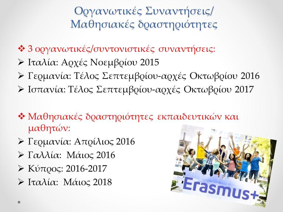Οργανωτικές Συναντήσεις/ Μαθησιακές δραστηριότητες  3 οργανωτικές/συντονιστικές συναντήσεις:  Ιταλία: Αρχές Νοεμβρίου 2015  Γερμανία: Τέλος Σεπτεμβρίου-αρχές Οκτωβρίου 2016  Ισπανία: Τέλος Σεπτεμβρίου-αρχές Οκτωβρίου 2017  Μαθησιακές δραστηριότητες εκπαιδευτικών και μαθητών:  Γερμανία: Απρίλιος 2016  Γαλλία: Μάιος 2016  Κύπρος: 2016-2017  Ιταλία: Μάιος 2018
