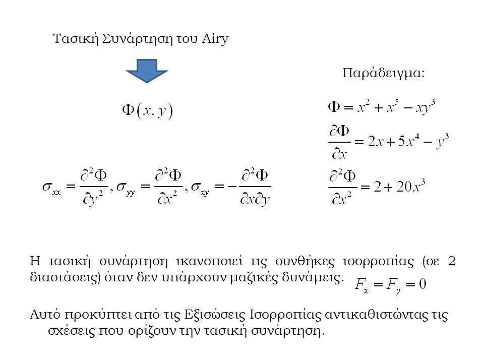 Τασική Συνάρτηση του Airy Παράδειγμα: Η τασική συνάρτηση ικανοποιεί τις συνθήκες ισορροπίας (σε 2 διαστάσεις) όταν δεν υπάρχουν μαζικές δυνάμεις.