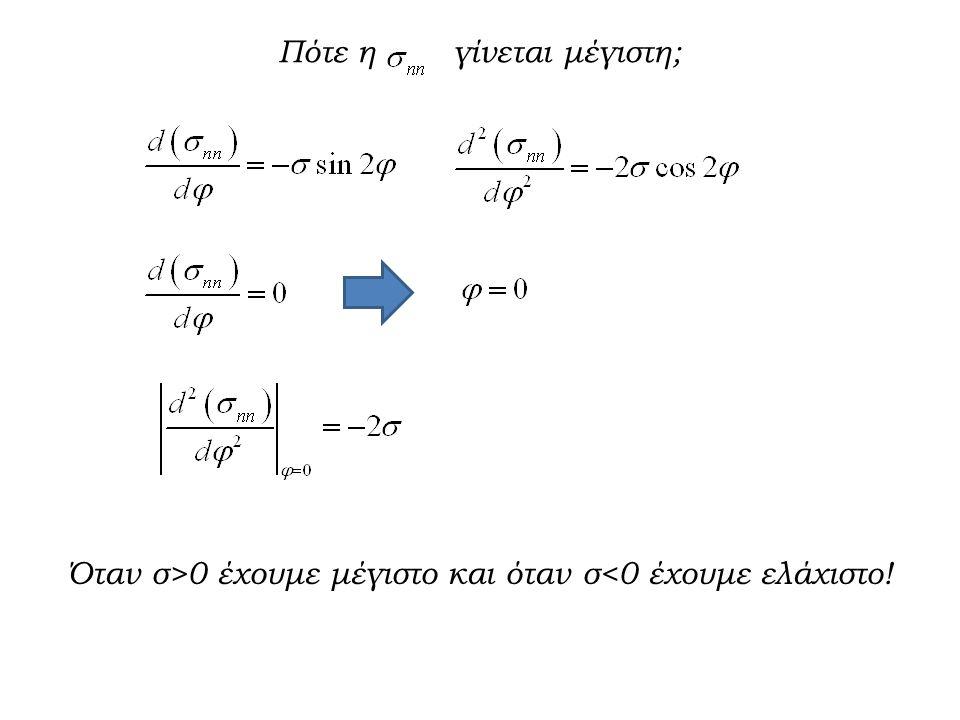 Πότε η γίνεται μέγιστη; Όταν σ>0 έχουμε μέγιστο και όταν σ<0 έχουμε ελάχιστο!