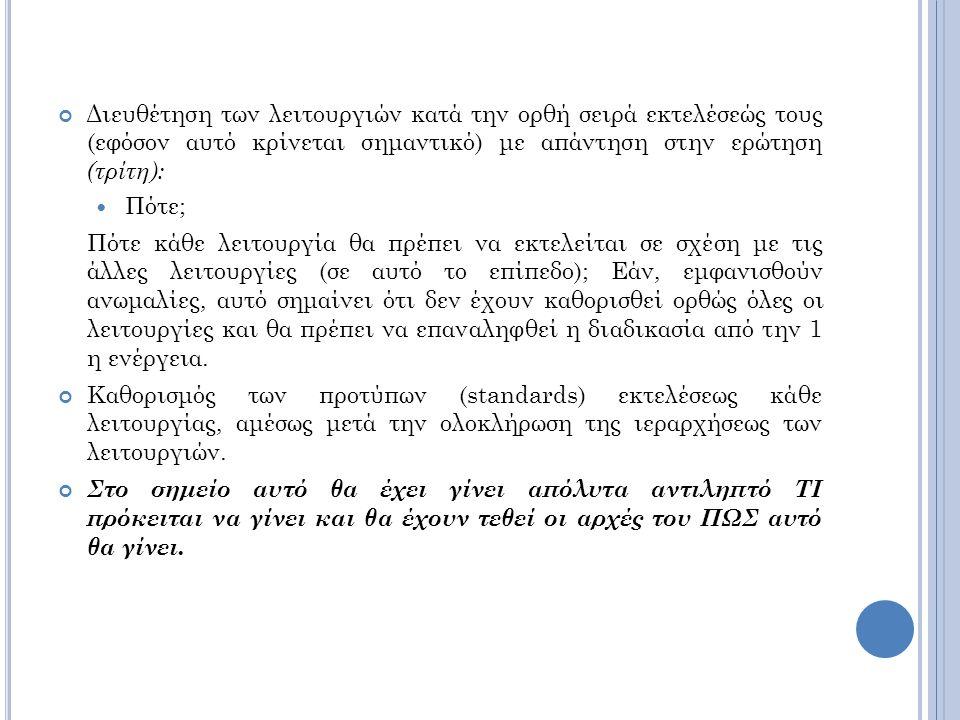 Διευθέτηση των λειτουργιών κατά την ορθή σειρά εκτελέσεώς τους (εφόσον αυτό κρίνεται σημαντικό) με απάντηση στην ερώτηση (τρίτη): Πότε; Πότε κάθε λειτουργία θα πρέπει να εκτελείται σε σχέση με τις άλλες λειτουργίες (σε αυτό το επίπεδο); Εάν, εμφανισθούν ανωμαλίες, αυτό σημαίνει ότι δεν έχουν καθορισθεί ορθώς όλες οι λειτουργίες και θα πρέπει να επαναληφθεί η διαδικασία από την 1 η ενέργεια.