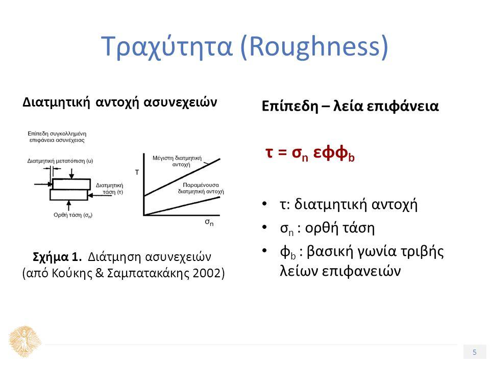 5 Τραχύτητα (Roughness) Διατμητική αντοχή ασυνεχειών Επίπεδη – λεία επιφάνεια τ = σ n εφφ b τ: διατμητική αντοχή σ n : ορθή τάση φ b : βασική γωνία τριβής λείων επιφανειών Σχήμα 1.