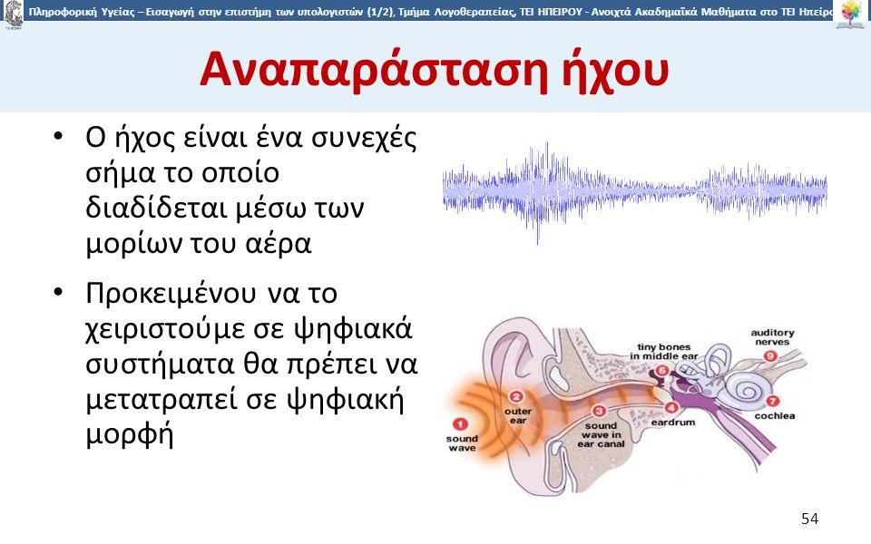5454 Πληροφορική Υγείας – Εισαγωγή στην επιστήμη των υπολογιστών (1/2), Τμήμα Λογοθεραπείας, ΤΕΙ ΗΠΕΙΡΟΥ - Ανοιχτά Ακαδημαϊκά Μαθήματα στο ΤΕΙ Ηπείρου Αναπαράσταση ήχου Ο ήχος είναι ένα συνεχές σήμα το οποίο διαδίδεται μέσω των μορίων του αέρα Προκειμένου να το χειριστούμε σε ψηφιακά συστήματα θα πρέπει να μετατραπεί σε ψηφιακή μορφή 54