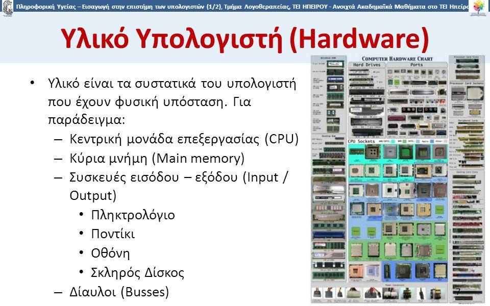 7 Πληροφορική Υγείας – Εισαγωγή στην επιστήμη των υπολογιστών (1/2), Τμήμα Λογοθεραπείας, ΤΕΙ ΗΠΕΙΡΟΥ - Ανοιχτά Ακαδημαϊκά Μαθήματα στο ΤΕΙ Ηπείρου Υλικό Υπολογιστή (Hardware) Υλικό είναι τα συστατικά του υπολογιστή που έχουν φυσική υπόσταση.