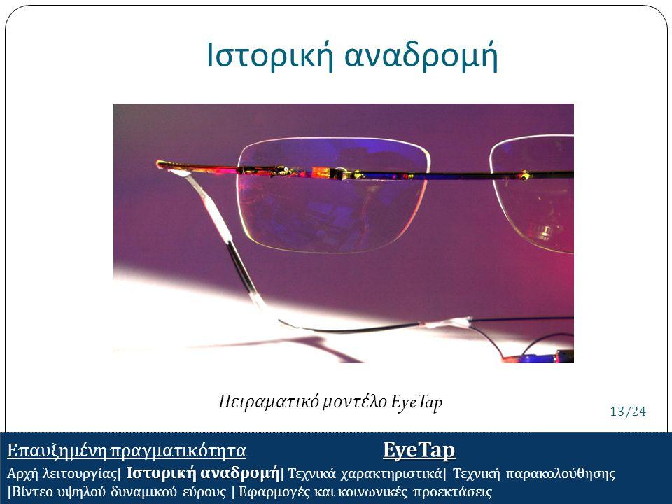 Ιστορική αναδρομή EyeTap Επαυξημένη πραγματικότητα EyeTap Ιστορική αναδρομή Αρχή λειτουργίας | Ιστορική αναδρομή | Τεχνικά χαρακτηριστικά | Τεχνική πα