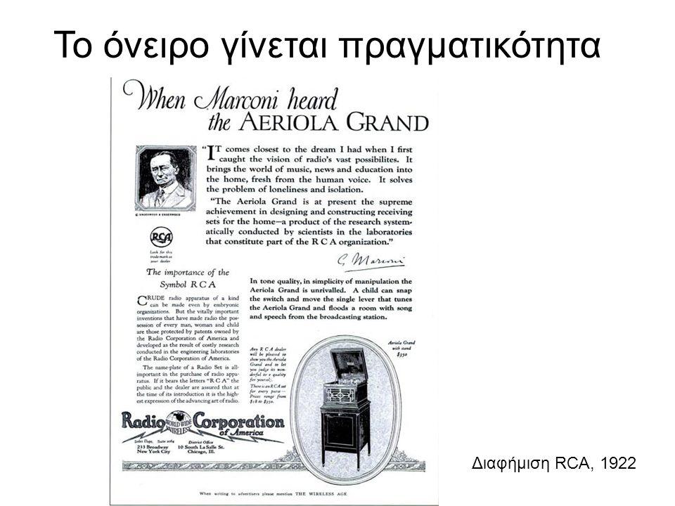 Το όνειρο γίνεται πραγματικότητα Διαφήμιση RCA, 1922