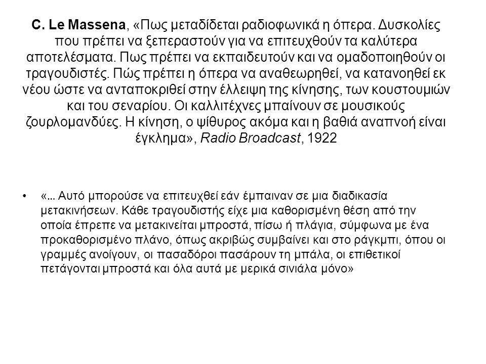 C. Le Massena, «Πως μεταδίδεται ραδιοφωνικά η όπερα. Δυσκολίες που πρέπει να ξεπεραστούν για να επιτευχθούν τα καλύτερα αποτελέσματα. Πως πρέπει να εκ