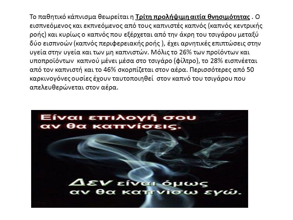 Το παθητικό κάπνισμα θεωρείται η Τρίτη προλήψιμη αιτία θνησιμότητας. Ο εισπνεόμενος και εκπνεόμενος από τους καπνιστές καπνός (καπνός κεντρικής ροής)