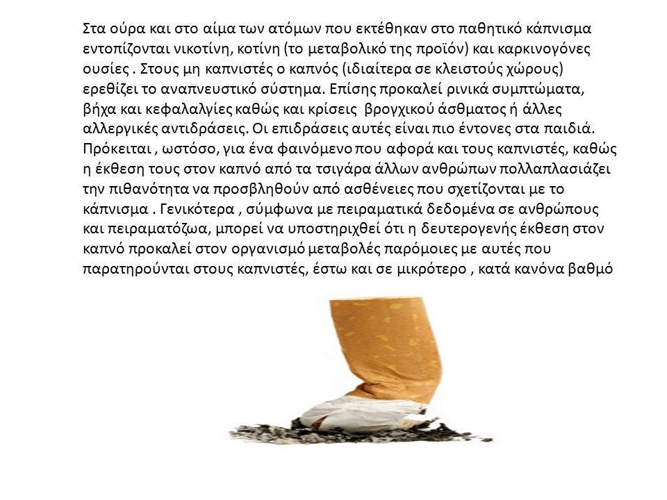 Στα ούρα και στο αίμα των ατόμων που εκτέθηκαν στο παθητικό κάπνισμα εντοπίζονται νικοτίνη, κοτίνη (το μεταβολικό της προϊόν) και καρκινογόνες ουσίες.