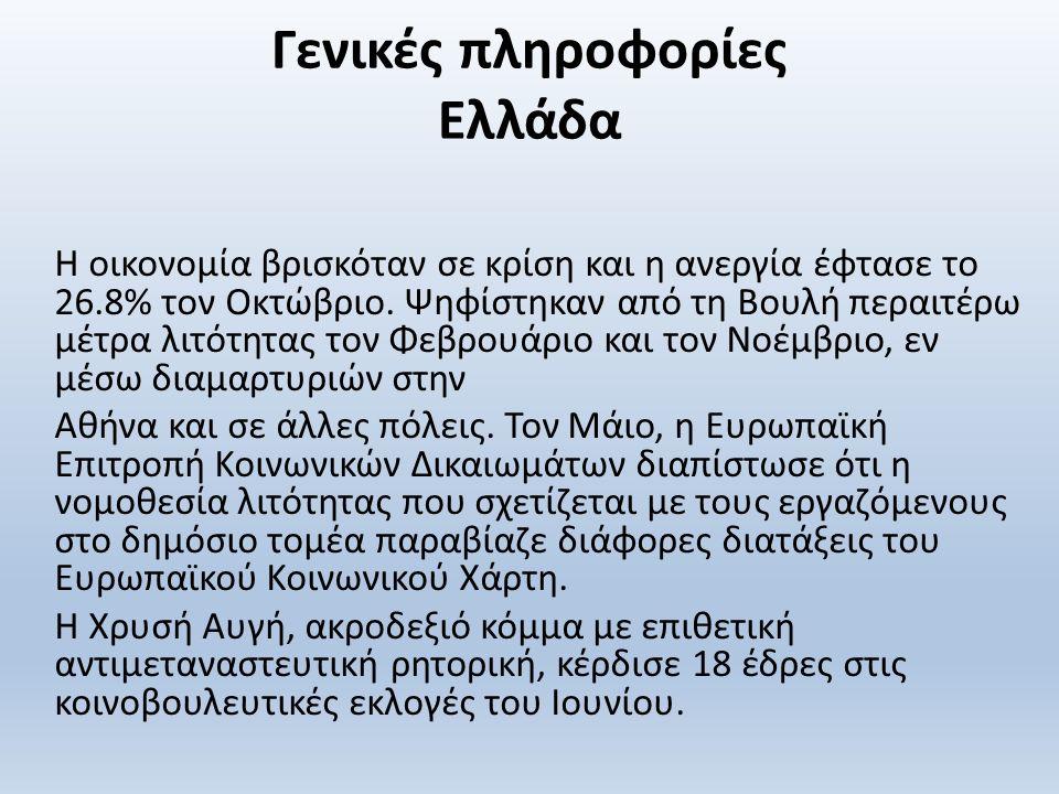 Γενικές πληροφορίες Ελλάδα Η οικονομία βρισκόταν σε κρίση και η ανεργία έφτασε το 26.8% τον Οκτώβριο.