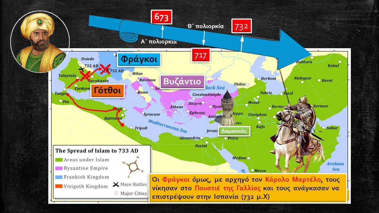 οι Άραβες στράφηκαν δυτικά, κατέλαβαν την Καρχηδόνα Δαμασκός Φράγκοι Γότθοι Βυζάντιο κατέκτησαν μέρος της βησιγοτθικής Ισπανίας έπειτα διάβηκαν τα Πυρ