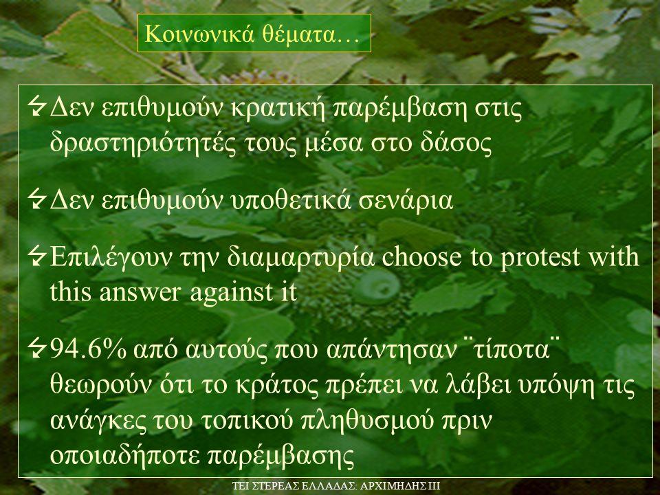  Δεν επιθυμούν κρατική παρέμβαση στις δραστηριότητές τους μέσα στο δάσος  Δεν επιθυμούν υποθετικά σενάρια  Επιλέγουν την διαμαρτυρία choose to protest with this answer against it  94.6% από αυτούς που απάντησαν ¨τίποτα¨ θεωρούν ότι το κράτος πρέπει να λάβει υπόψη τις ανάγκες του τοπικού πληθυσμού πριν οποιαδήποτε παρέμβασης Κοινωνικά θέματα… TEI ΣΤΕΡΕΑΣ ΕΛΛΑΔΑΣ: ΑΡΧΙΜΗΔΗΣ ΙΙΙ