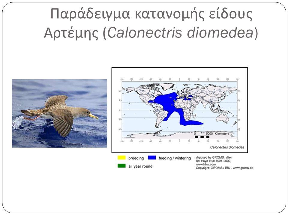 Παράδειγμα κατανομής είδους Αρτέμης (Calonectris diomedea)