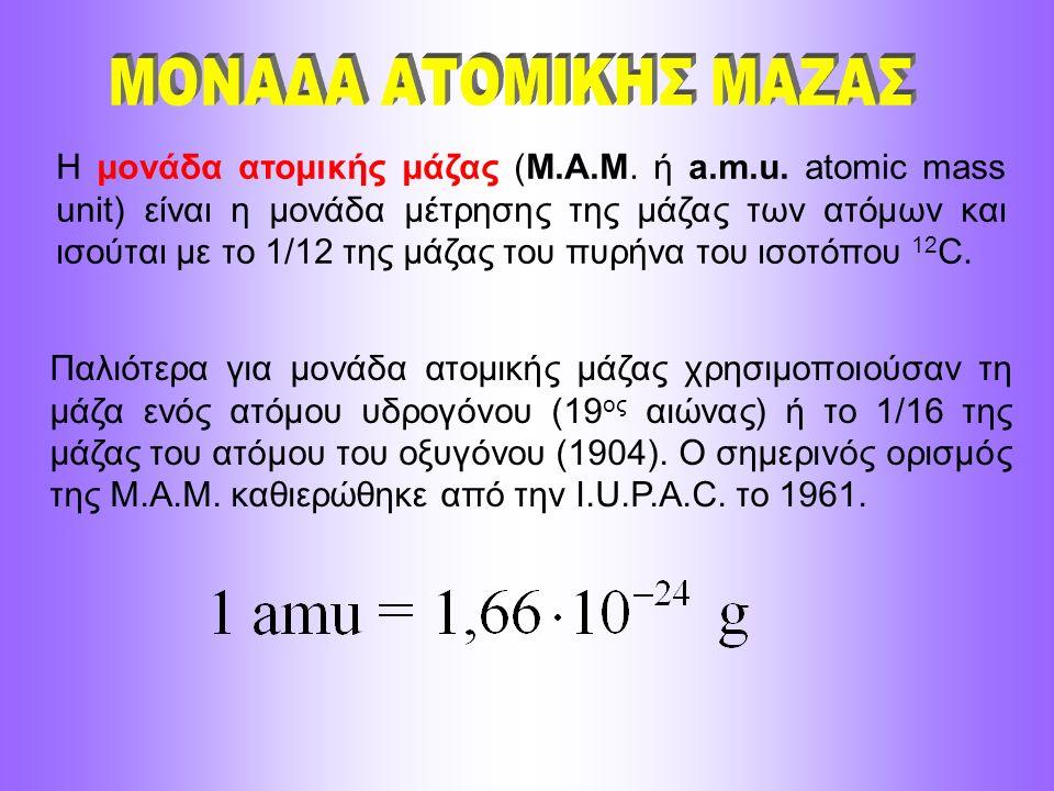 Η μονάδα ατομικής μάζας (Μ.Α.Μ. ή a.m.u. atomic mass unit) είναι η μονάδα μέτρησης της μάζας των ατόμων και ισούται με το 1/12 της μάζας του πυρήνα το