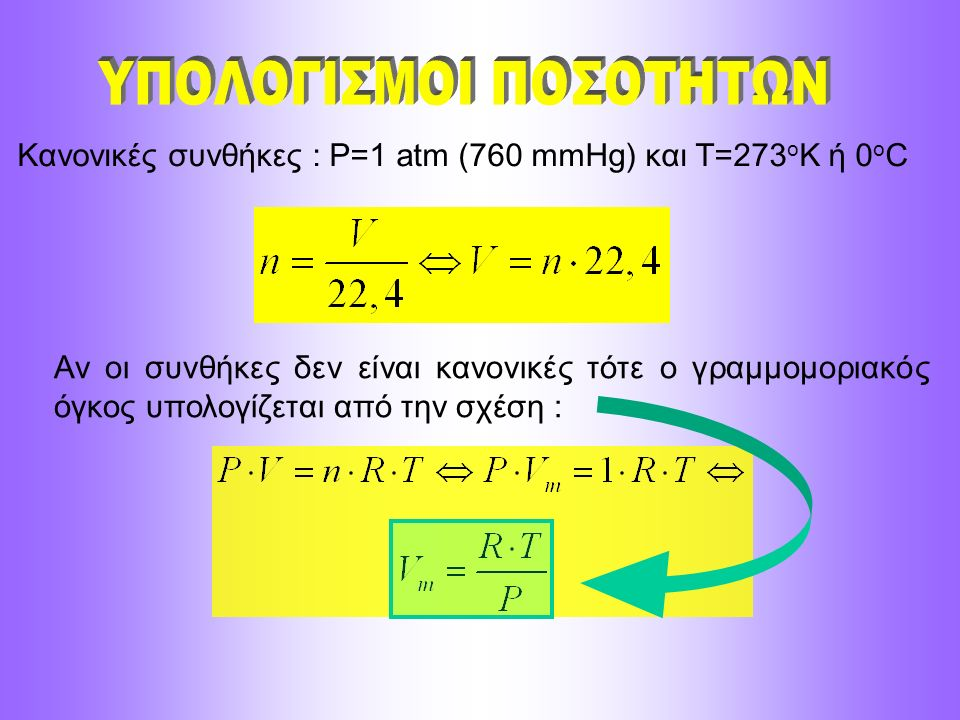 Κανονικές συνθήκες : P=1 atm (760 mmHg) και T=273 o K ή 0 ο C Αν οι συνθήκες δεν είναι κανονικές τότε ο γραμμομοριακός όγκος υπολογίζεται από την σχέσ